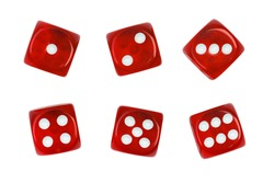 Set of red gambling casino dice isolated on white