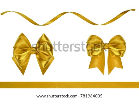 Set of red invasion ribbon silk bows with ribbons isolated on white background