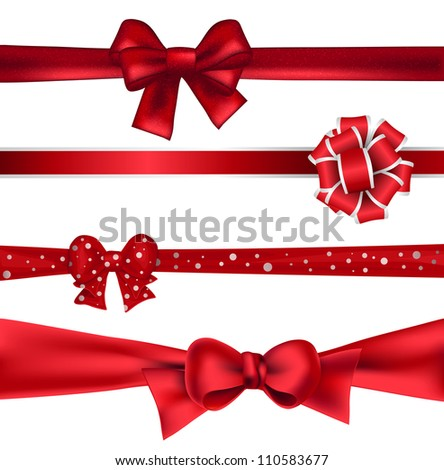 Set of 4 red ribbons on white background - stock photo