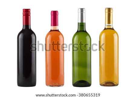 Set of red, rose and white wine bottles #380655319