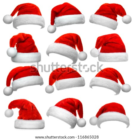 Shutterstock Set of red Santa Claus hats isolated on white background