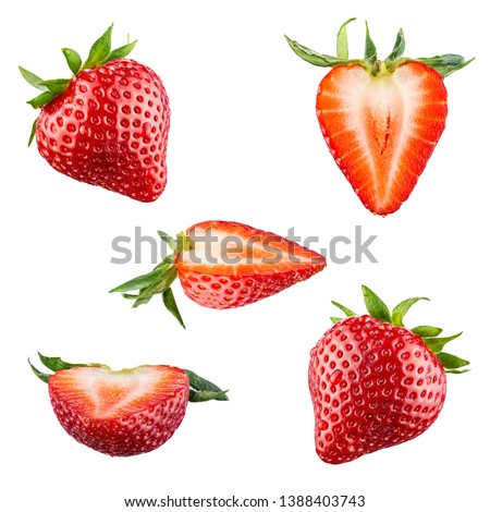 Set of red strawberry berries isolated on white background. 100 percent sharpness.