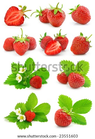 set of red strawberry fruits with green leafs  isolated on white background
