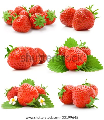 set of red strawberry fruits with green leaves isolated on white background