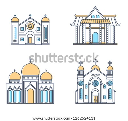 Set of religion buildings. Church, mosque, synagogue, pagoda. Traditional religions architecture. Raster version.