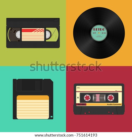 Set of retro audio, video and data storage on a colored vintage background. Audio, video cassettes, vinyl record and 3.5 inches floppy diskette.