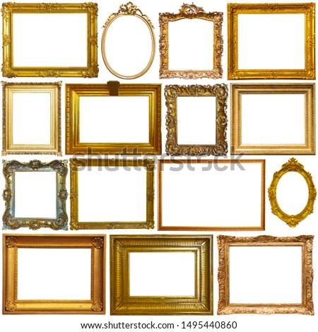 Set of retro empty picture frames isolated on white #1495440860