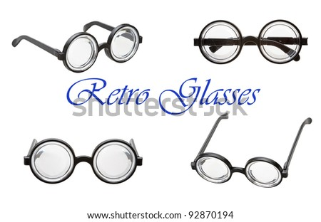 set of retro glasses isolated on a white background