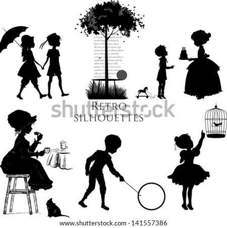 Set of retro silhouettes children. Raster version of vector file