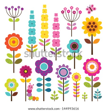 Set of retro style flowers and insects in bright colors, isolated on white. Includes clipping path included for easy isolation of elements. Great for scrap booking. See my folio for other colors.