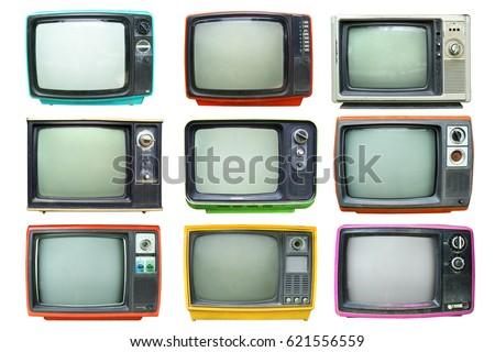 Set of retro television - Old vintage TV isolate on white, retro technology.