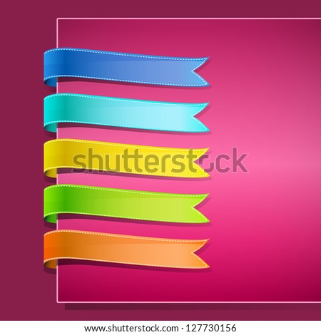 set of ribbons on pink background - stock photo