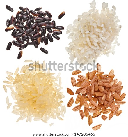 set of rice pile heap close up isolated on a white background