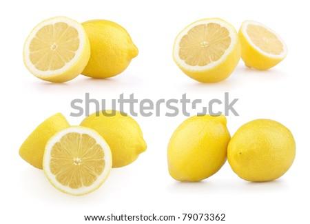 Set of ripe lemon fruits isolated on white background