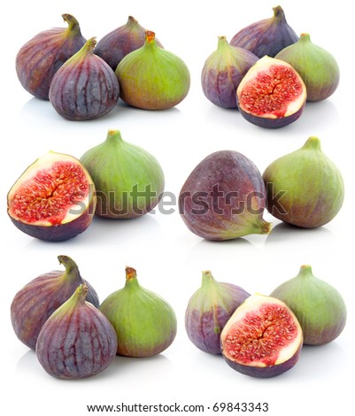 Set of Ripe sliced purple and green fig fruit isolated on white background