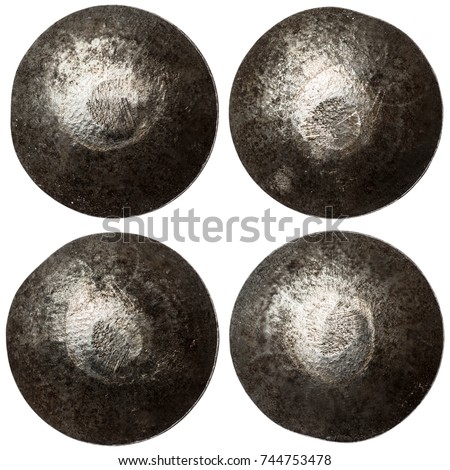 set of rivet heads isolated on white