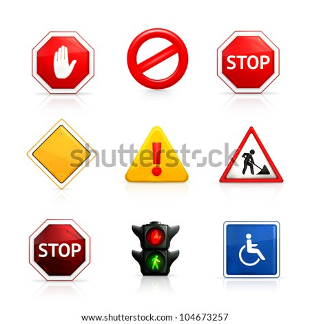 Set of road signs, bitmap copy
