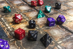 Set of role playing dice on a gaming mat.