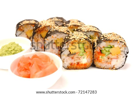 Set of rolls with eel and omelet.