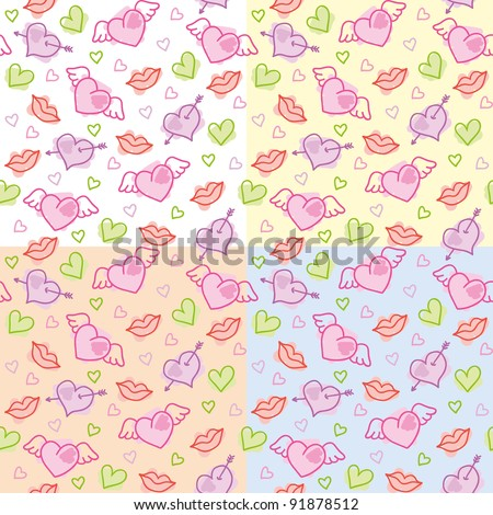 set of romantic seamless patterns with hearts