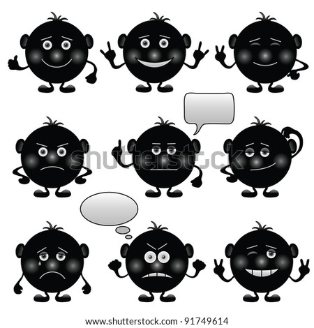 Set of round black and white smilies symbolising various human emotions