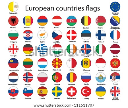 set of round buttons with flags of Europe illustration #111511907