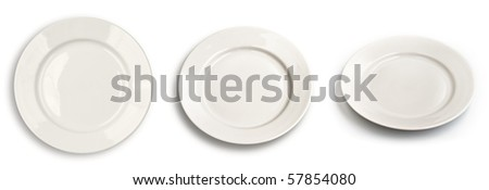 Set of round plates isolated on white with different angle of view