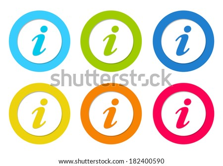 Set of rounded icons with information symbol