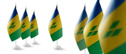 Set of Saint Vincent national flags on a white background