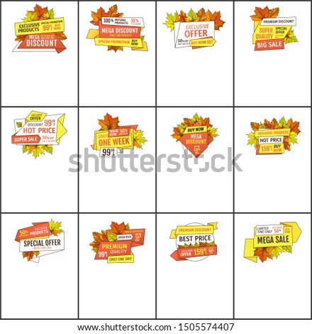 Set of sale adverts with autumnal foliage and orange leaves raster. Limited time buy now discount promo online posters set. Mega reduction of autumn fall prices
