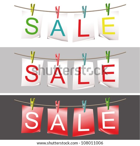 Set of sale papers fixed with colorful pins on the clothesline. Raster version of the vector image