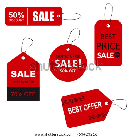 Set of sale tags with text. Limited edition, best choice, special offer. #763423216