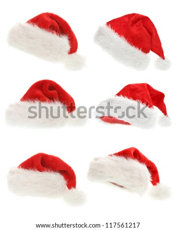 Set of Santa Claus hats