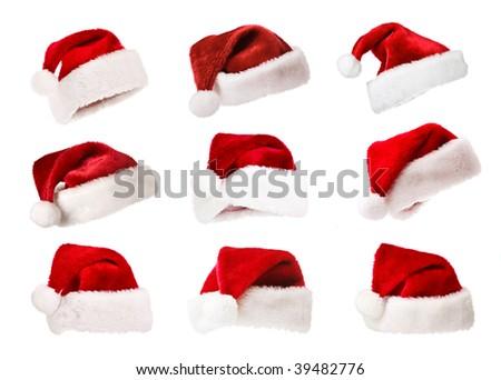 Set of Santa Claus hats Christmas concept