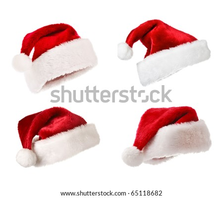 Set of Santa Claus hats Christmas concept