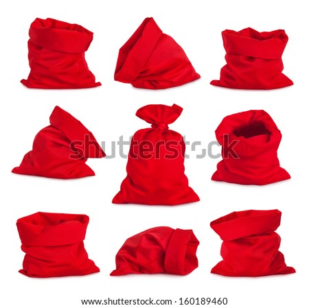 Shutterstock Set of Santa Claus red bags, isolated on white background