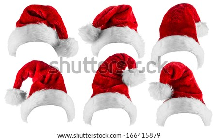 set of santa hats isolated on white background