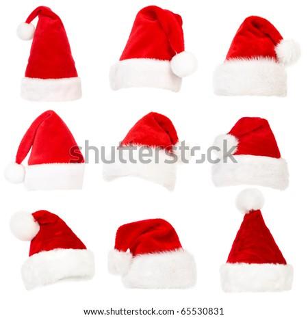 Set of Santa hats. Isolated over white background