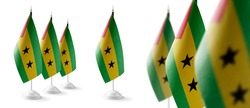 Set of Sao Tome and Principe national flags on a white background