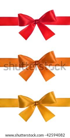 set of satin ribbon bow on white background