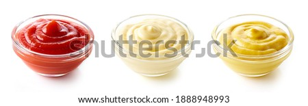 Set of sauces - ketchup mayonnaise and mustard isolated on white background Foto d'archivio ©