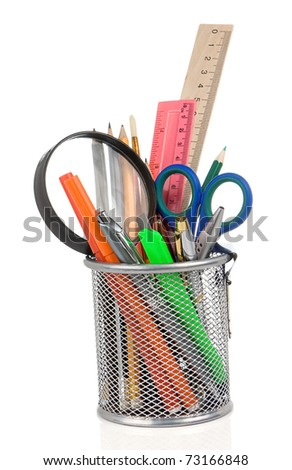 set of school accessories isolated in holder on white background