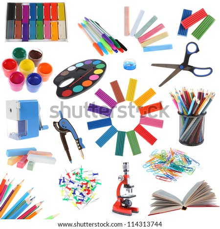 Set of school accessories isolated on a white background