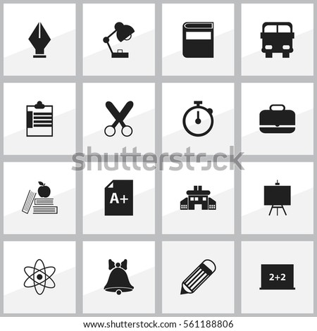 Set Of 16 School Icons. Includes Symbols Such As Writing Board, Textbook, Cutting And More. Can Be Used For Web, Mobile, UI And Infographic Design.