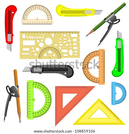 set of school instruments. Protractor, compass, protractor and a knife.  illustration.