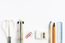 Set of school stationery on white background from above