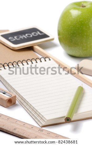 Set of school stationery produced from ecological materials