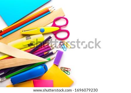Set of school supplies on white background Foto stock ©