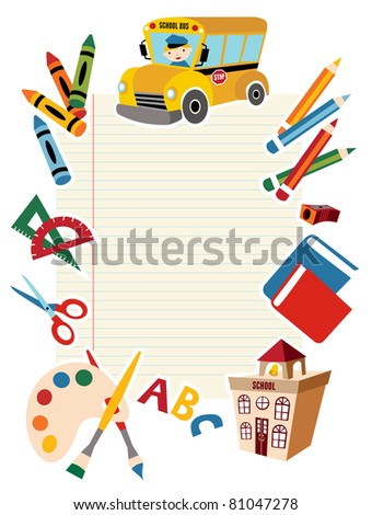 Set of School tools and Supplies background. - stock photo