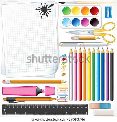Set of school tools and supplies-(id=59090104 vector)